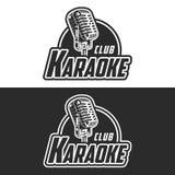 发光的卡拉OK演唱俱乐部传染媒介标签设计 图库摄影