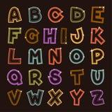 发光的向量字母表 库存图片
