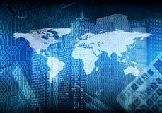 发光的图和世界地图 高技术背景 库存照片