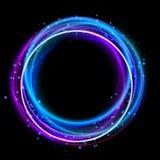 发光的圈子光线影响 夜总会点燃光晕圆环 库存例证