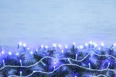 发光的圣诞灯和冷杉分支在木背景 免版税库存照片