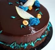 发光的巧克力蛋糕用榛子、苹果切片和蓝色海绵 免版税库存图片