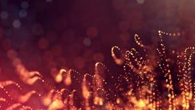 发光的微粒动态抽象背景与光亮的bokeh的闪耀 黑暗的金黄红色构成与 股票录像