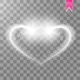 发光的心脏在透明背景闪耀 与闪闪发光的金背景 飞行沿的圣诞节星 库存图片