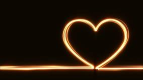 发光的心脏形状黄灯条纹 库存例证