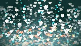 发光的心脏轻的情人节背景 股票视频