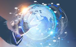 发光的手指商人邮件全球性接口 免版税库存照片
