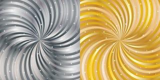 发光的抽象背景-金子和银 免版税库存图片