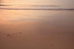 发光的日落在海洋 反射在水和沙子的天空 免版税图库摄影