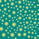 发光的星样式无缝的样式五角形金奖摘要设计乱画夜艺术性的背景传染媒介 免版税库存照片