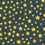 发光的星样式无缝的样式五角形金奖摘要设计乱画夜艺术性的背景传染媒介 库存图片