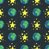 发光的星样式无缝的样式自然地球地球金奖摘要设计乱画夜艺术性的背景传染媒介 免版税图库摄影