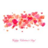 发光的桃红色心脏华伦泰设计 免版税库存照片
