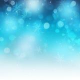 发光的欢乐雪花和闪闪发光圣诞节背景 免版税库存照片