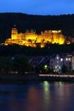 发光的海得尔堡城堡 库存图片
