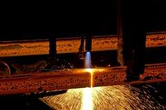 发光的热钢 库存图片