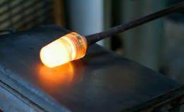 发光的玻璃熔化 图库摄影