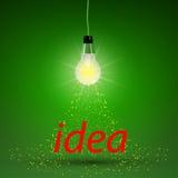 发光的电灯泡抽象设计与闪闪发光的 库存照片