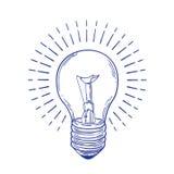 发光的白炽光电灯泡手拉与在白色背景的蓝色等高线 单色图画电 向量例证