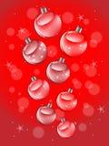 发光的红色圣诞节球 向量例证
