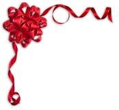 发光的红色缎丝带和弓在白色背景 库存照片