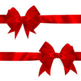 发光的红色缎弓集合 10 eps 图库摄影