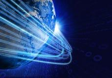 发光的线和地球 高技术背景 免版税库存照片