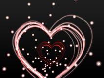 发光的线心脏 图库摄影