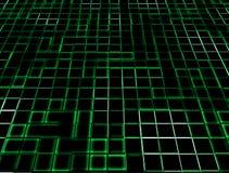 发光的绿色霓虹瓦片 库存照片
