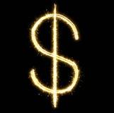 发光的美元由闪烁发光物制成 向量例证