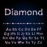 发光的金刚石字体设置了A到Z大写和小写 免版税库存图片