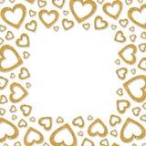 发光的金金属心脏框架  闪烁粉末边界为StValentine ` s天 库存照片