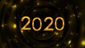 发光的金黄2020新年摘要录影动画 库存例证