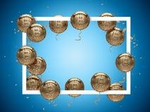 发光的金黄Bitcoin在与里面拷贝空间的方形的框架附近塑造了气球 库存例证
