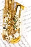 发光的金黄女低音萨克斯管弓零件看法  免版税库存照片