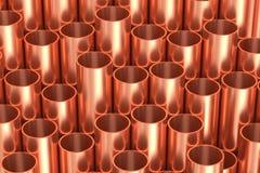 发光的铜用管道输送工业例证 免版税库存图片