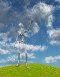 发光的银色机器人 免版税图库摄影