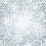 发光的银色轻的雪花无缝的样式为 免版税库存图片