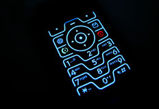 发光的键盘电话 免版税库存照片