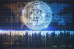 发光的bitcoin背景 免版税库存照片