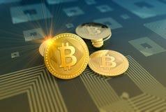 发光的bitcoins隐藏货币背景 免版税库存图片