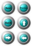 发光蓝色的按钮 免版税库存图片