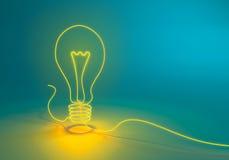 发光象形状的字符串的电灯泡 免版税库存照片