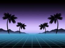 发光霓虹,synthwave和retrowave背景模板 减速火箭的电子游戏,未来派设计,吹捧音乐,80s 库存例证