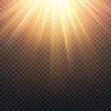 发出光线,温暖的橙色火光作用被隔绝的现实透明黄色太阳对方格的背景 皇族释放例证
