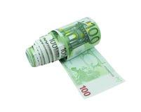 发单欧元一百一间纸洗手间 免版税图库摄影