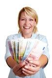 发单欧洲愉快的mony妇女 免版税库存照片