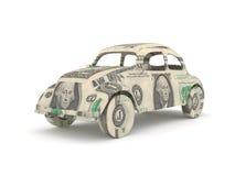 发单汽车美元做的origami葡萄酒 免版税库存照片