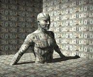 发单男孩拿着一百人货币一的美元风扇 免版税库存照片
