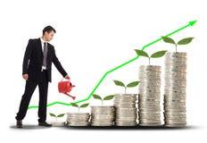 发单美元草绿色生长增长一百货币一 拿着水的商人 免版税库存图片